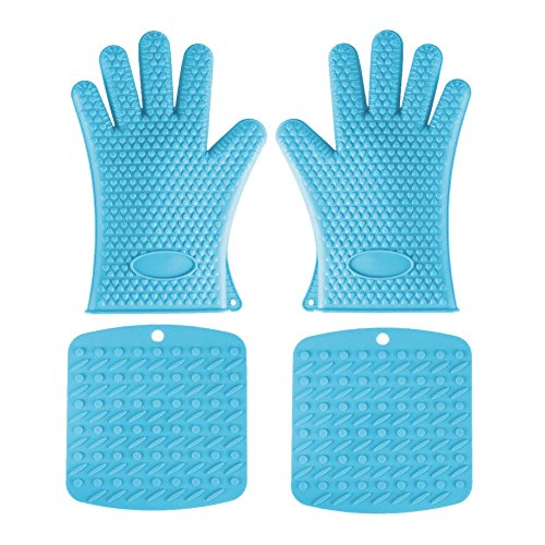 Aspire 4PCS Silicone Heat-resistant Grilling Set BBQ Barbecue Baking Gloves + 2 Silicone Pot Holders-Green