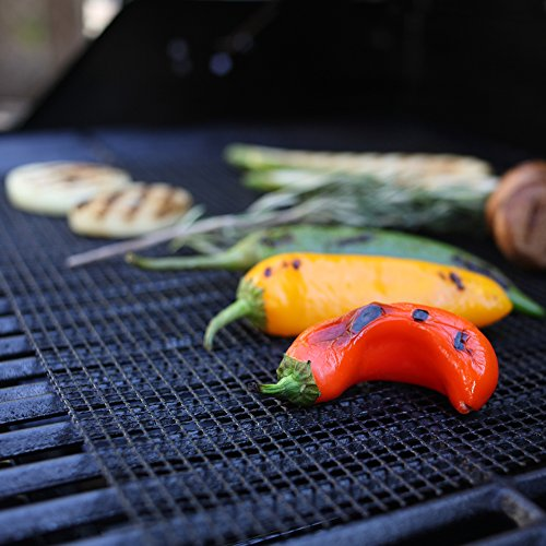 La-Chef Grill Mat -BBQ Mats for Gas,Charcoal,Electric Grills -Reusable (Set of 4)- Keep Grill Marks and Flavor Intact
