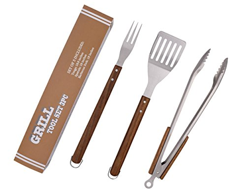 BOBZYXL BBQ Grilling Tool Set 18-inch 3-Piece, Heavy Duty Stainless Steel Spatula, Fork & Tongs, with Solid Wood Handle