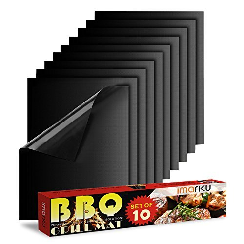 Imarku BBQ Grill & Baking Mats, Durable , Heat Resistant, Set of 10 Non-Stick Grilling Accessories