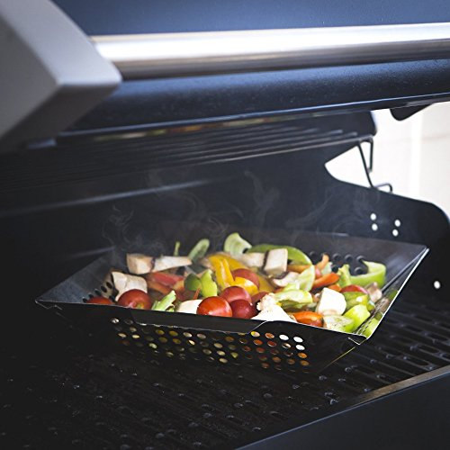 Bbq masters non-stick grill basket – grill topper barbecue wok pan – cook vegetables, seafood, meats