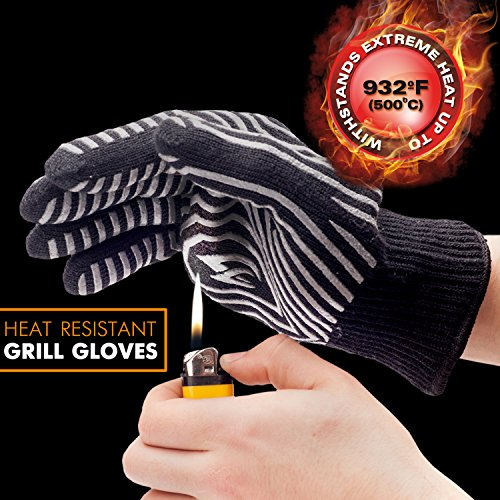 Extreme Heat Resistant BBQ Gloves – Highest Heat Grill Gloves Up To 932°F Resistant – Premium Insulated – Cooking, Frying, Grilling Gloves with Bonus Silicone Oil Brush
