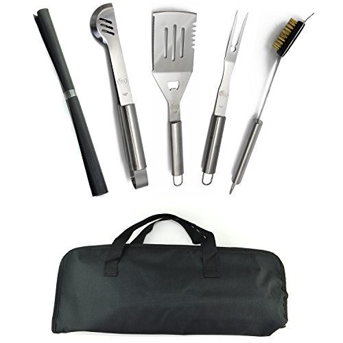 Stainless Steel BBQ Grill Tools Set – 5 Piece Grilling Tool Accessories Barbecue Kit W/ Carry Bag and Silicone BBQ Mat (5)