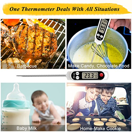 Meat Thermometer, Digital Food Cooking Thermometer Instant Read Thermometer Barbecue Thermometer Candy Thermometer for Kitchen BBQ Grill Smoker Meat Candy Milk