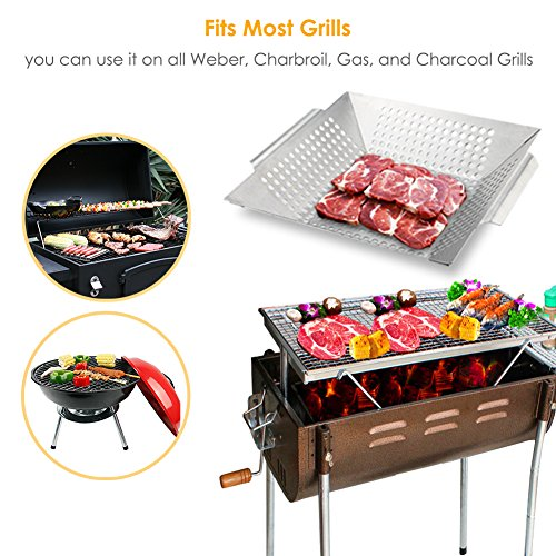 GDEALER BBQ Grill Basket 14″x12″ Barbecue Grill Basket Grill Pan for Veggies, Chicken, Meats and Fish, Professional 430 Grade Stainless Steel, Silver