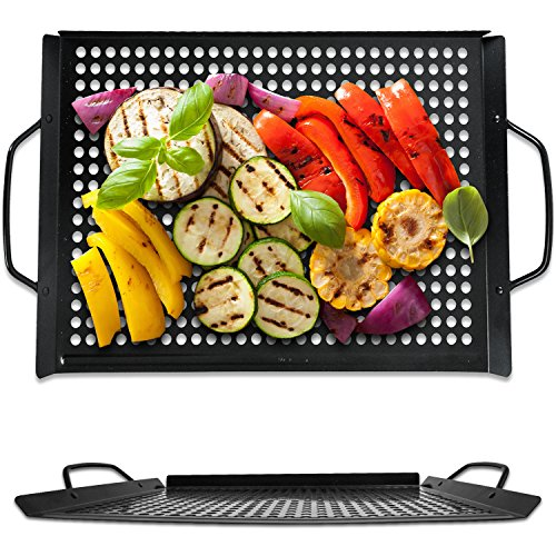 Corona BBQ Grill Accessories Set – Extra Large 11 x 16 Inch BBQ Grilling Pan as a NonStick Grill Basket for Outdoor/ Indoor or Charcoal Grill Tools