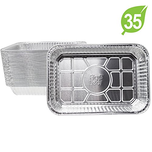 """(35 Pack) Disposable Aluminum Drip Pans Model 6415 Weber Compatible Foils l Small Size 7.5"""" x 5"""" x 1.7″ l Perfect Fit for Weber Q grills, Spirit gas grills, Genesis and Genesis II LX 200 300 series"""
