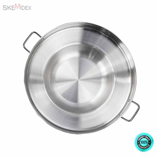 SKEMiDEX— 23″ Round Stainless Steel Concave Comal Pozo Griddle Taco Grill Fry Pan Wok Cook Stainless Steel Material / Acero Inoxidable Cazo para carnitas or any Outdoor Dish Outdoors cooking wok.