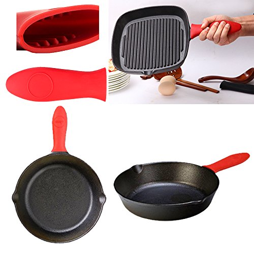 Z-liant 6 Pack Durable Plastic Grill Pan Scraper and Black Red Silicone Handle Holder Set for Kitchen Cooking and Baking.