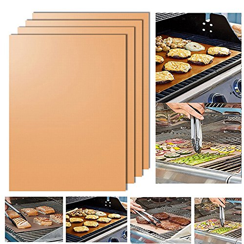 Grill Mat Set of 4- 100% Non-stick BBQ Grill & Baking Mats – Heavy Duty, Reusable, and Easy to Clean FDA-Approved, PFOA Free,Works on Gas, Charcoal, Electric Grill, – 13 X 15.75 Inches (Golden)