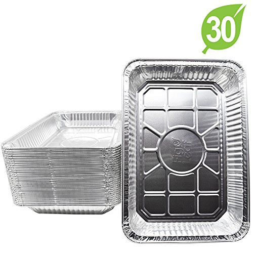 (30 Pack) Aluminum Foil Drip Pans Model 6416 Weber Compatible l Large Size 13″ x 9″ x 2″ l Perfect Fit for Weber Spirit, Genesis Charcoal Grills. Holds Meat, Dishes, and for Indirect Grill Cooking