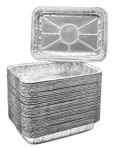 Pack of 25 Aluminum Foil Grill Drip Pans – Bulk Package of Durable Cooking Trays – Disposable BBQ Grease Pans – Made in USA – Great for Baking, Roasting, and Cooking – Standard Size 8.5″ x 6″ Inch