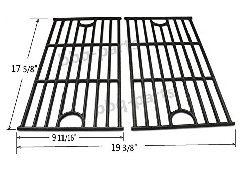 Hongso PCA312 Universal Gas Grill Grate Cast Iron Cooking Grid Replacement, Master Forge SH3118B matte cast iron cooking grid, Sold as a Set of 2