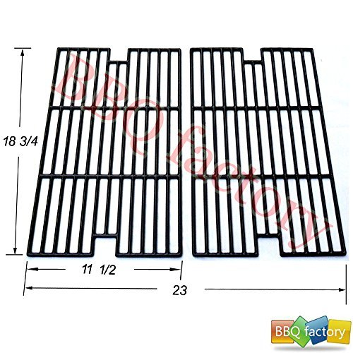 bbq factory Replacement Porcelain coated Cast Iron Cooking Grid Grate JGX012 for Select Kenmore and Sams Gas Grill Models, Set of 2