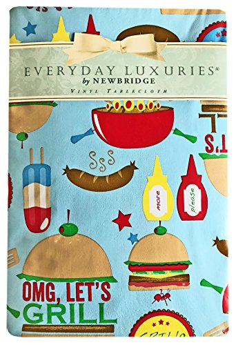 Let's Grill Fun BBQ Print Vinyl Flannel Backed Tablecloth, Indoor/Outdoor Tablecloth for Picnic, Barbeque, Patio and Kitchen Dining,, Indoor/Outdoor (52 Inch x 70 Inch Oblong/Rectangle)