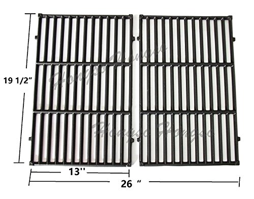Hongso PCG524 7524 Cast-Iron Cooking Grates Replacement for Weber E-330 Grills and Selected Charmglow Grills, Set of 2