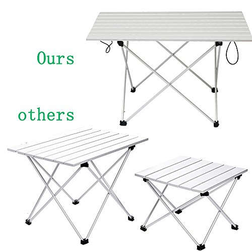 WSTECHCO XL Ultralight Aluminum Folding Camping Table Collapsible Portable Picnic Tables Lightweight Outdoor Fold Up Desk With Bag Camping Pcnic Tables Fishing 27x18x16 Inch