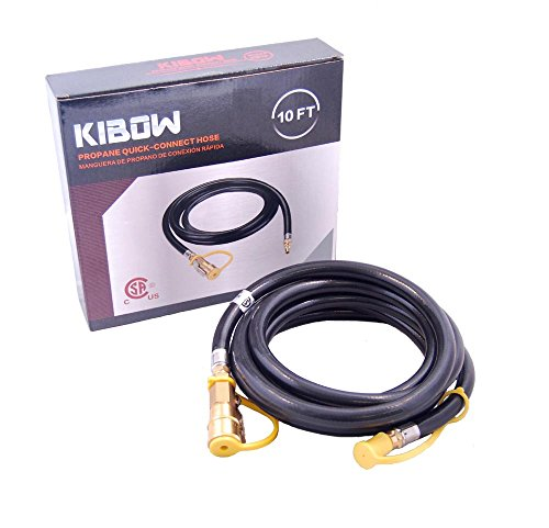 """KIBOW 10Ft Propane Quick Connect Hose- 1/4"""" Female Socket with Safety Shutoff Valve & 1/4 Male Full Flow Plug for RVs' Low Pressure Propane Supply"""