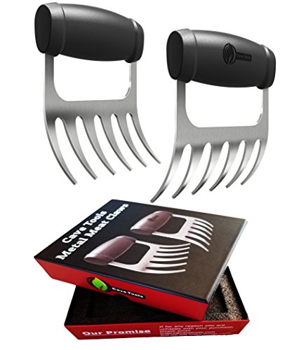 Cave Tools Meat Claws – STAINLESS STEEL PULLED PORK SHREDDERS – BBQ Forks for Shredding Handling & Carving Food from Grill Smoker or Crock Pot – Metal Barbecue Slow Cooker Handler Accessories by