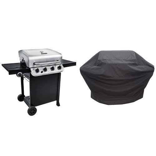 Char-Broil Performance 475 4-Burner Cart Gas Grill- Stainless with Performance Grill Cover, 3-4 Burner: Large