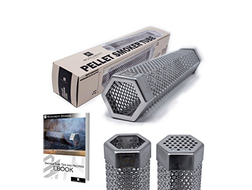 Premium Hexagon Wood Pellet Smoker Tube 12″ | Great For Any Grill | Hot and Cold Smoking | 5+ Hours of Billowing Smoke Stainless Steel | E-Book and Recipes Included | Monument
