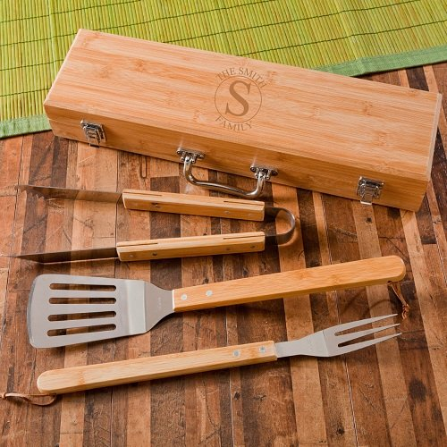 A Gift Personalized Personalized Grilling BBQ Set with Bamboo Case – Personalized Grilling Tool Set