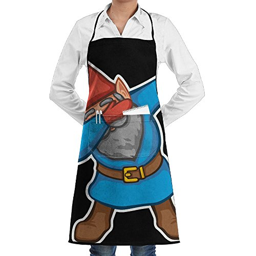 Novelty Dabbing Garden Gnome Kitchen Chef Apron With Big Pockets – Chef Apron For Cooking,Baking,Crafting,Gardening And BBQ