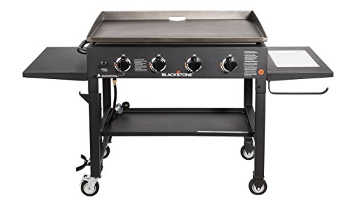 Blackstone 36 inch Outdoor Flat Top Gas Grill Griddle Station – 4-burner – Propane Fueled – Restaurant Grade – Professional Quality – With NEW Accessory Side Shelf and Rear Grease Management System