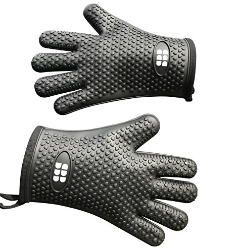 Heat Resistant BBQ Cooking Gloves – Oven Mitts By SBDW. Insulated Silicone With Protective Lining. Versatile & Waterproof For BBQ Grill, Deep Fry, Fire Pit, Campfire & Meat Smoking – 3 Colors (Black)