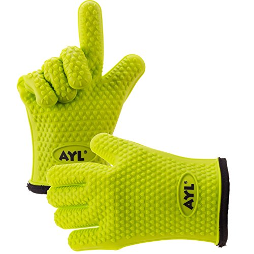 AYL Silicone Cooking Gloves – Heat Resistant Oven Mitt for Grilling, BBQ, Kitchen – Safe Handling of Pots and Pans – Cooking & Baking Non-Slip Potholders – Internal Protective Cotton Layer