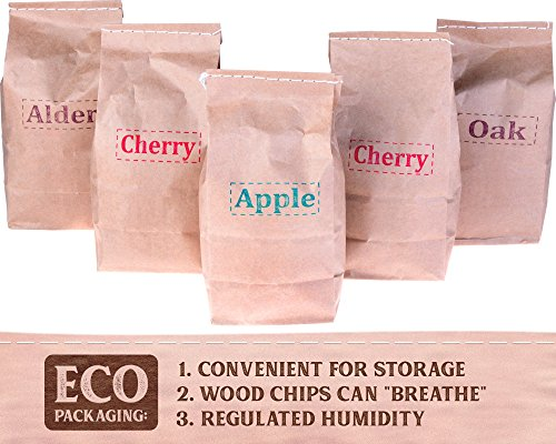 BBQ Smoking Chips – Wood Chips variety pack: alder, oak, apple, cherry – 100% Natural and Organic wood product – For bbq grill fireplace – Best Smoker chips mix 5 pcs gift set – BONUS recipe e-book