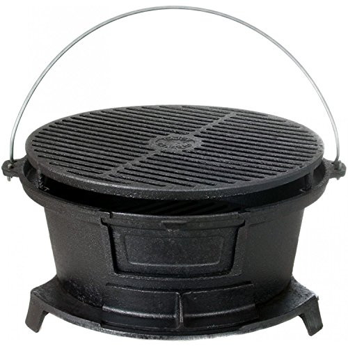 Cajun Classic Round Seasoned Cast Iron Charcoal Hibachi Grill – Gl10447