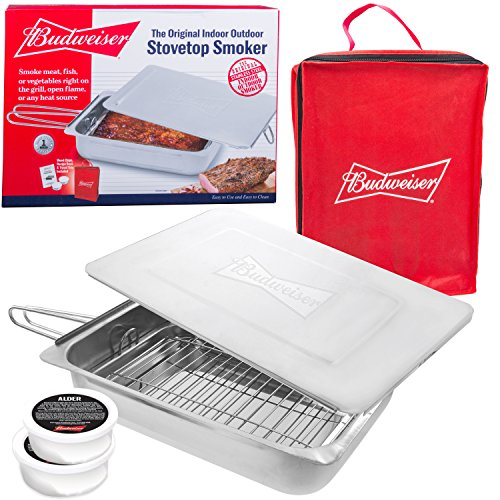 Budweiser Stovetop Smoker – The Original Stainless Steel Smoker with Wood Chips – Works over any heat source, indoor or outdoor