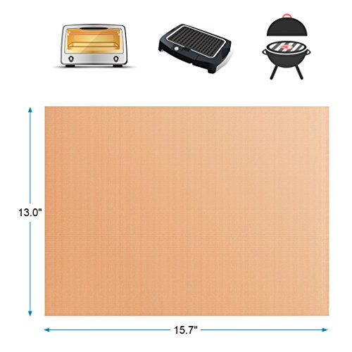 YORLFE Grill Mat – Set of 3 BBQ Grill Mats – Non-stick, Reusable, and Easy to Clean Barbecue Grilling Accessories -Works for Gas Grill,Charcoal,Oven,Electric Barbecue (15.7″ x 13″, Copper)