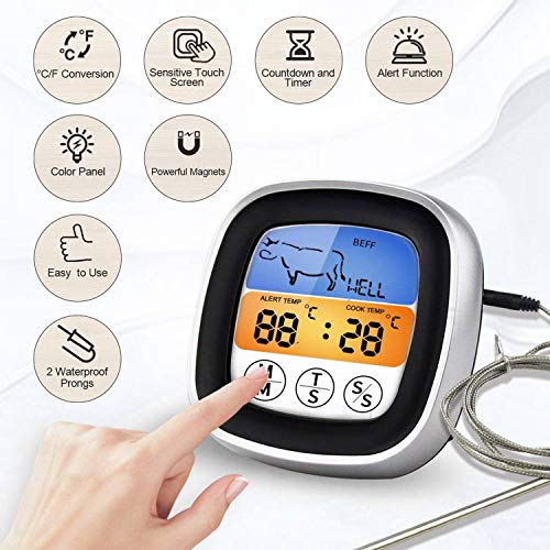 KETOTEK BBQ&Oven Timer Alerts Candy Food Touchscreen Digital Meat Cooking Thermometer for Kitchen,Turkey Roasting,Chicken,Steak Grill Smoker FDA Dual Stainless Probes and 2 AAA Batteries Included