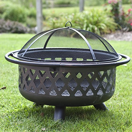 Most Popular Outdoor Wood Burning Patio Fire Pit Bowl With Screen Cover Tools Lightweight Portable Round- Gather Around On Cool Summer, Fall Winter Spring Nights- Perfect Warmth For Friends and Family
