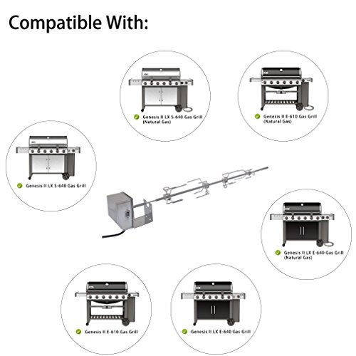 onlyfire Stainless Steel Grill Rotisserie Kit Fits for Weber 7653 Use with Weber Genesis II and Genesis II LX 4 & 6 Burner Grills