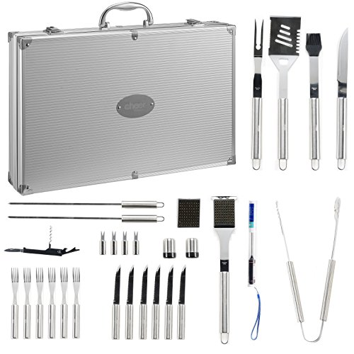 30 Piece BBQ Utensil Set | Professional Grade Stainless Steel Barbecue Grill Tool Set with Aluminum Storage Case – Includes 4-in-1 Spatula Turner, Tongs and many other bbq Grilling Accessories