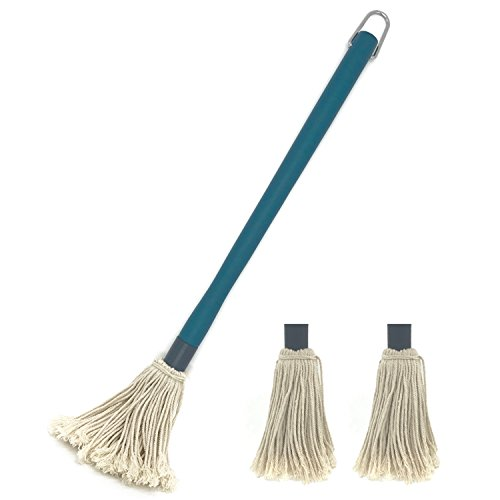 Pepki 18 inches Large BBQ Basting Mop with 2 Extra Replacement Heads for Grilling & Smoking (green)