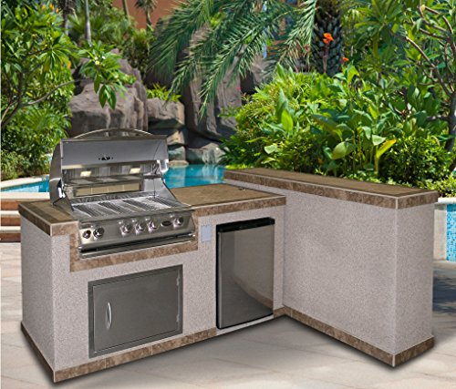 Cal Flame e6026 6′ Outdoor Kitchen Island 2 Piece 4-Burner Built in Grill 27″ Stainless steel door, Refrigerator with two tone tile and Ameristucco base with under counter lights