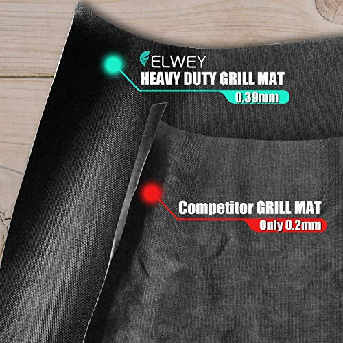 ELWEY Non Stick Grill Mat – Set of 3 600 Degree Extreme Temperature BBQ Grill Mats – Heavy Duty for Gas Charcoal Smoker Oven Electric Barbeque Grills