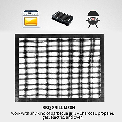 Bchoice BBQ Grill Mesh/Mat, Non-Stick BBQ Grill & Baking Mats, Set of 2,FDA-Approved, PFOA Free Reusable Grill Accessories for Barbecue + Free Apron