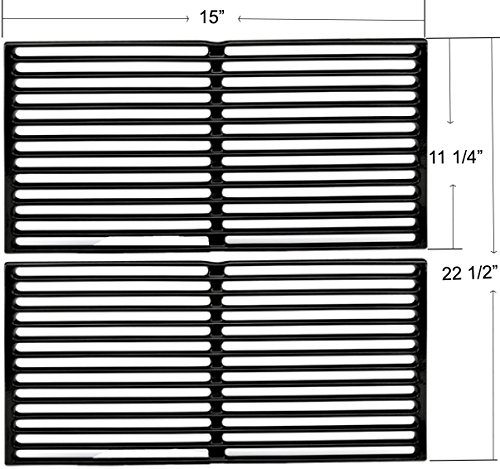 Enamel Cast Iron Cooking Grates for Weber Spirit 200 Series (Without Front-mounted Control Panel), Spirit 500, Genesis Silver A Gas Grills (Dims:15 X 11 1/4″ Each Unit, 15 X 22 1/2″ For 2 Units)