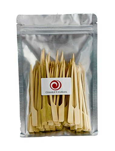 Oriental Creations 100 Count 4″ Premium Natural Bamboo Picks Paddle Skewers