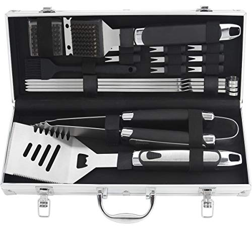 Grilljoy 18pcs BBQ Grill Accessories Set – Heavy Duty Stainless Steel Barbecue Grilling Utensil Kit with Non-slip Handle in Aluminum Storage Case – Prefect Birthday Gift Set for Dad