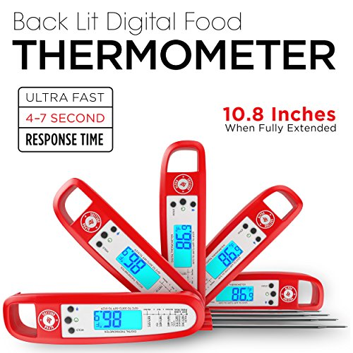 Instant Read Meat Thermometer For Cooking And Grill. UPGRADED WITH BACKLIGHT AND WATERPROOF BODY. Best Ultra Fast Digital Kitchen Probe. Includes Internal BBQ Meat Temperature Guide