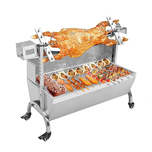 PROMOTOR BBQ Portable Spit Roaster Rotisserie Grill Stainless Steel Charcoal Barbecue Pig Lamb Skewer Roast Grill Roasting Motor