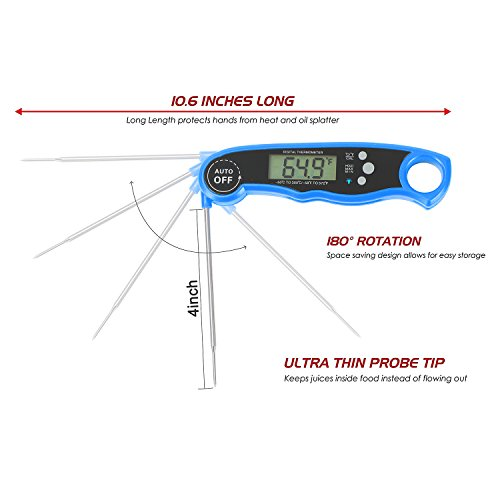 Meat Waterproof Thermometer Digital Fast Instant Read Thermometer BBQ Thermometer with Probe Calibration Backlit Function Cooking Thermometer for Food Candy Milk Tea BBQ Grill Smoker (Blue)