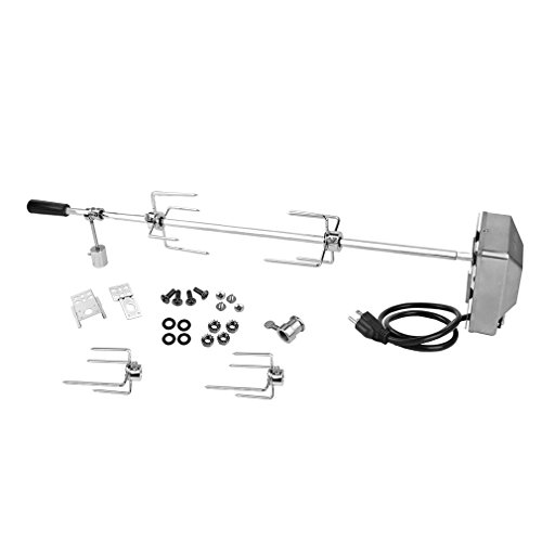 """onlyfire 6022 Heavy Duty Universal Grill Replacement Rotisserie Kit – 37"""" X 1/2"""" Hexagon Spit Rod/Stainless Steel Electric Motor(Do No Fit Weber Gas Grill)"""