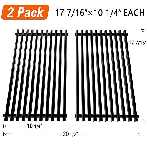 SHINESTAR 7637 17.5″ Grill Grates Replacement Parts for 2013 and Newer Weber Spirit 200/E-210 Series Gas Grills, Porcelain Enameled Steel Cooking Grids (17.5″ x 10.2″ Each, 2 Pack)